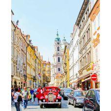 Живопись на холсте Красный автомобиль в Праге Екатерины Высотиной, 40x50, Paintboy, GX24511