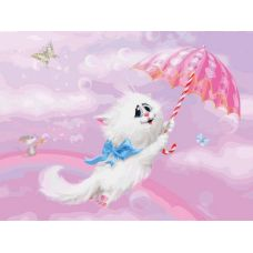 Раскраска Белая кошечка Алексея Долотова, 30x40, Белоснежка