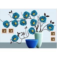 Алмазная мозаика Легкость голубого цветка, 88x64, частичная выкладка, JANE