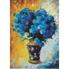 Алмазная мозаика Синие ромашки, 50x69, полная выкладка, JING CAI GE