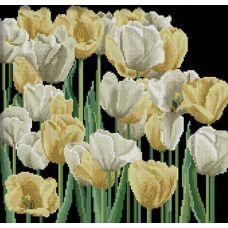 Алмазная мозаика Желтые и белые тюльпаны, 43x41, полная выкладка, JING CAI GE