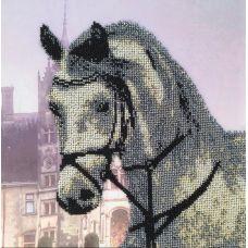 Вышивка бисером на шелке Лошадь, 30x30, FeDi