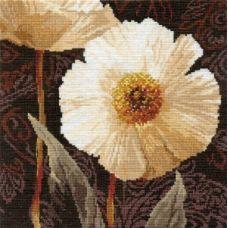 Вышивка Белые цветы. Открытый свету, 25x25, Алиса