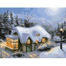 Раскраска Зимний вечер, 40x50, Белоснежка