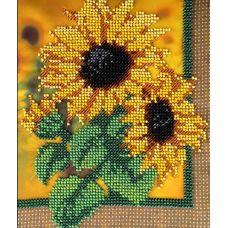 Вышивка бисером на шелке Подсолнухи, 17x20, FeDi