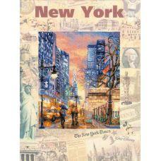 Набор для вышивания Города мира. Нью-Йорк, частичная вышивка, 30x40, Риолис, Сотвори сама