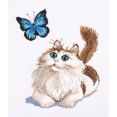 Набор для вышивания Котенок и бабочка, 25x30, Овен