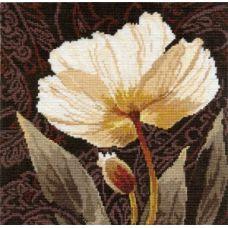 Вышивка Белые цветы. Залитый светом, 25x25, Алиса