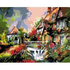 Раскраска Дом с водопадом, 40x50, Белоснежка