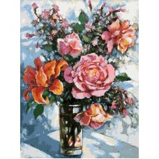Раскраска Натюрморт с розами, 30x40, Белоснежка