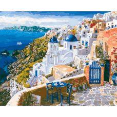 Картина по номерам Санторини, 40x50, Белоснежка
