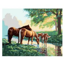 Раскраска Скакуны на водопое, 40x50, Белоснежка