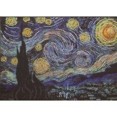 Звездная ночь по картине Ван Гога, набор для частичной выкладки термостразами, Преобрана