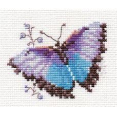 Вышивка Яркие бабочки. Голубая, 8x6, Алиса