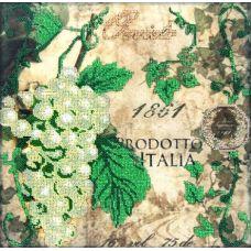 Вышивка бисером на габардине Зеленый виноград, 30x30, Астрея