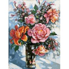 Живопись по номерам на картоне Натюрморт с розами, 30x40, Белоснежка