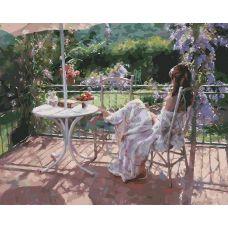 Раскраска Утро на террасе Винсенте Ромеро Редондо, 40x50, Белоснежка