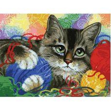 Раскраска Котик с клубочками, 30x40, Белоснежка