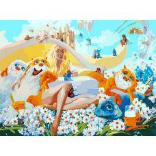 Раскраска Блондинка в окружении котов, 30x40, Белоснежка