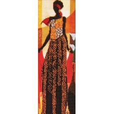 Вышивка бисером на габардине Африканский стиль 2, 14x40, Астрея