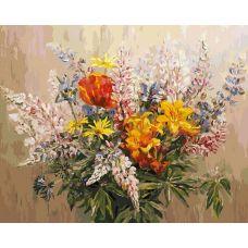 Раскраска Букет с желтыми лилиями, 40x50, Белоснежка