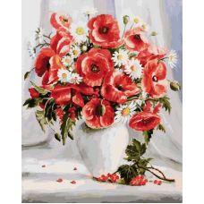 Раскраска Маки и ромашки, 40x50, Белоснежка