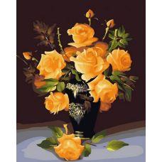 Раскраска Букет жёлтых роз, 40x50, Белоснежка