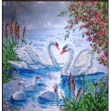 Вышивка бисером на шелке Лебеди, 45x45, FeDi