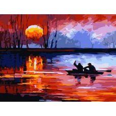 Раскраска Рыбалка на закате, 40x50, Белоснежка