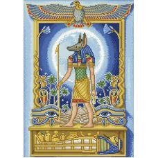 Вышивка стразами Анубис - покровитель путешественников, полная выкладка, 35х51, Паутинка
