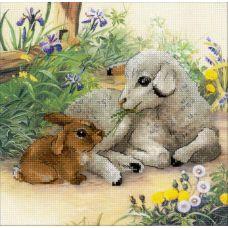 Набор для вышивания Ягненок и кролик, частичная вышивка, 30x30, Риолис, Сотвори сама