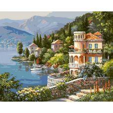 Раскраска Вилла на берегу озера, 40x50, Белоснежка