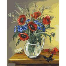 Раскраска Полевой букет с бабочками, 40x50, Белоснежка