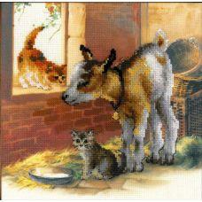 Набор для вышивания Котенок и козлята, частичная вышивка, 30x30, Риолис, Сотвори сама