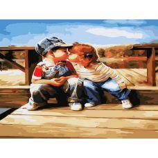 Картина по номерам Поцелуй у реки, 30x40, Белоснежка