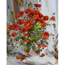 Раскраска Букет маков, 40x50, Белоснежка