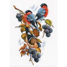 Набор для вышивания Снегири на ежевике, 22x33, Овен