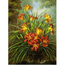 Живопись на холсте Букет из лилий, 30x40, Белоснежка