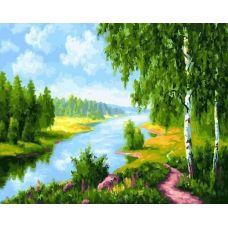 Живопись на холсте Березы у реки, 40x50, Paintboy, GX22577