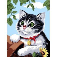 Раскраска Любопытный котенок, 40x50, Paintboy, GX6427