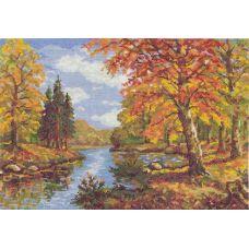 Набор для вышивания крестом Золотая осень, 35x25, Чудесная игла