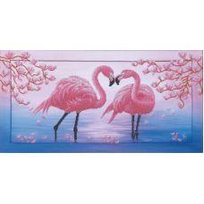 Набор для вышивания бисером Розовые фламинго, 57x28,5, Магия канвы