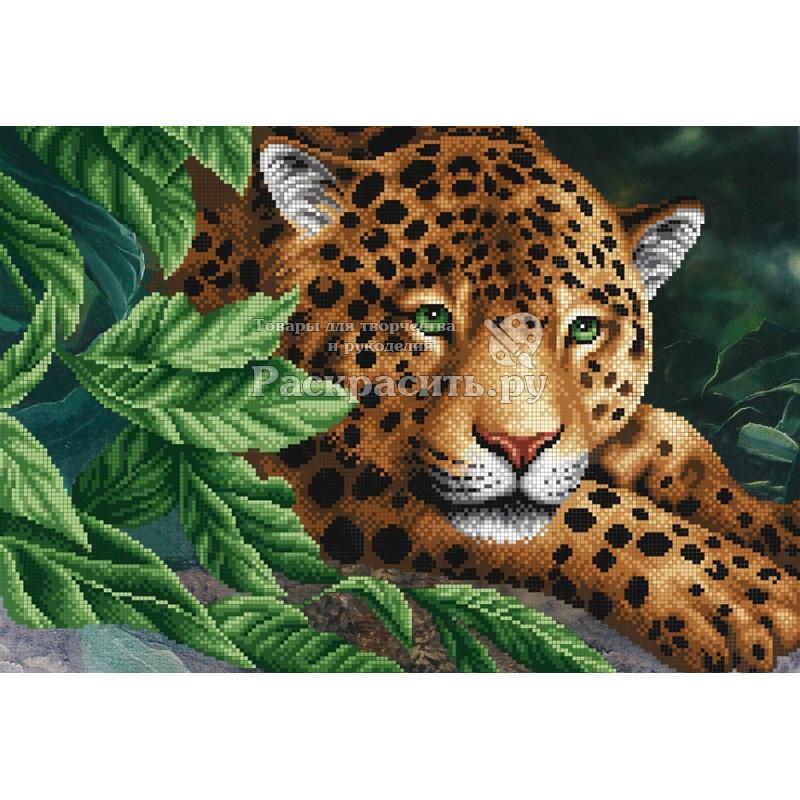 Вышивка леопард на отдыхе 7