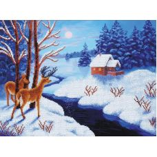 Набор для вышивания бисером Морозный вечер, 39x29, Магия канвы