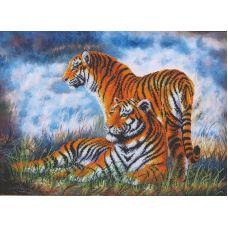 Набор для вышивания бисером Туманное утро Тигры, 46,5x33,5, Магия канвы