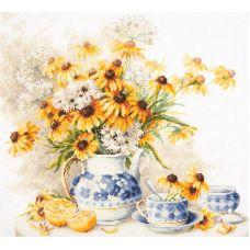 Набор для вышивания крестом Цветочный чай, 40x35, Чудесная игла