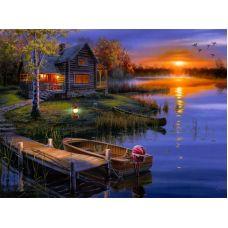 Живопись на холсте Дом на озере, 40x50, Paintboy, GX5853