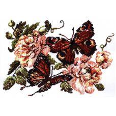 Набор для вышивания крестом Пионы и бабочки, 20x27, Чудесная игла