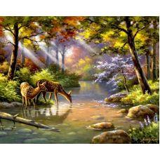 Живопись на холсте Олени на водопое, 40x50, Paintboy, GX4825