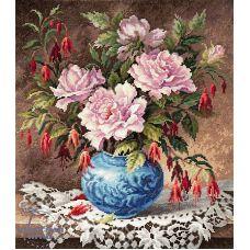 Набор для вышивания крестом Розы и фуксии, 31x35, Чудесная игла